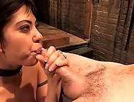 Threesome Slave girl Satine Phoenix trained to service two