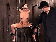 Little Italian girl, bound in metal with hard fucking machine drilling her shaved pussy.