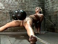 Tara Lynn Foxx begins the 1st part of July's Live show,  Elbows bound, spread on the floor, made to cum by Isis love, tight brutal crotch rope!!