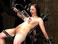 Girl next door with huge tits and nipples gets them brutally abused!  Girl is fucked by a machine until she cums over and over and over!