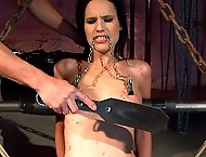 Skinny babe goes to a BDSM studio to try herself