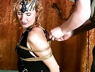 Hot slut enjoys some Shibari bondage