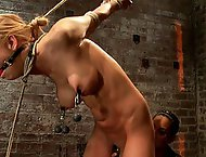 Stappado'd, elbows together, legs spread, nipples clamped & weighted, flogged, made to cum & suffer!