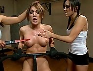 Sinn Sage and Isis Love do an intense workout routine with Amy Brooke involving exercise torture, electricity, and lots of anal!