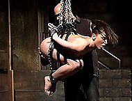 Bondage Porn Slut Ariel X dominated by Ian Rath, Bound, pussy hook and Forced Cum.